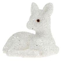 Fawn liggande 8cm glitter vit 6st