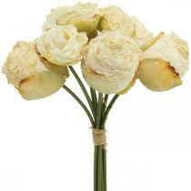 Konstgjorda rosor, sidenblommor, rosenknippe grädde vit L23cm 8st