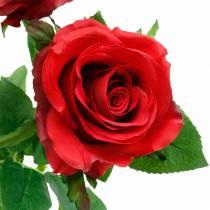 Röd ros konstgjorda rosor sidenblommor 3st