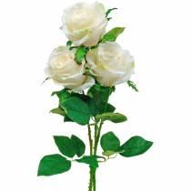 Vit ros på en stjälk, sidenblomma, konstgjord ros 3st