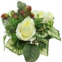 Rosor / hortensia bukett vit med bär 31 cm