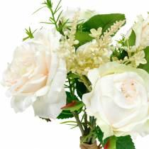 Bukett av konstgjorda rosor Kräm- sidenblommor i en bukett