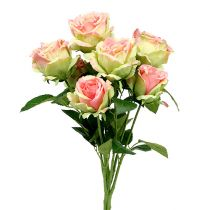 Rosebusk konstgjord grön, rosa 55cm