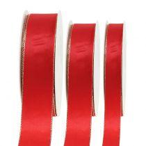 Satinband rött med guldkant 40m