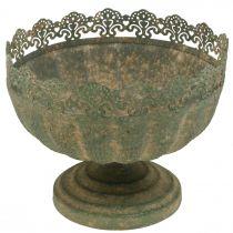 Rustik planter, skål med fot, metalldekoration, antikt utseende, Ø18,5cm H15cm