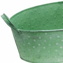 Zinkskål med handtag oval prickig grön, vittvätt 39,5x18 cm H14cm