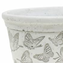 Plantera potten skålen vit med fjärilar 17cm x 12cm H8cm 2st