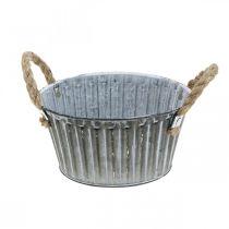 Växtskål, metallskål med handtag, dekorativ skål för plantering Ø18cm