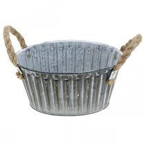 Metallskål för plantering, växtkruka med handtag, blomskål Ø22cm