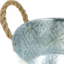 Dekorativ skål silver med handtag metallplanter skålplanter Ø21cm