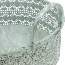 Dekorativ skålmetall med handtag Vintage cachepot set om 3
