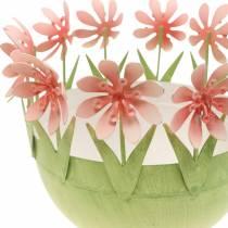 Planterskål, vårdekoration, metallskål med blomdekor, påskkorg