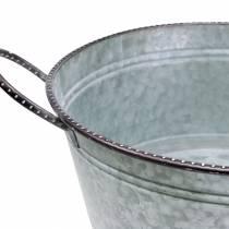 Zinkskål med handtag grå, brunvit tvättad Ø38cm H17cm
