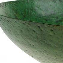 Dekorativ skål stor metallgrön vintage bordsdekoration Ø42cm