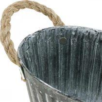 Metallväxtskål, blomskål för plantering, dekorativ skål med handtag L22.5cm