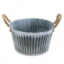 Metallväxtskål, blomskål, krukkruka med handtag Ø28cm