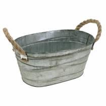 Zink skål lindningsmönster med rephandtag oval vit tvättad 27,5 × 16,5 cm H12,5 cm