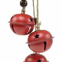 Klockor med stjärna på bandet för att hänga rött L30cm 2st