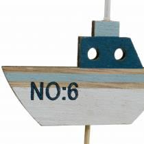 Dekorativ pluggfartyg trä vitblå naturlig 8cm H37cm 24st