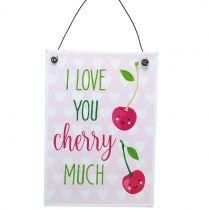 """Skylt för att hänga """"cherry"""" 17cm x 12cm 4st"""