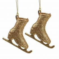 Julgransdekorationer skridsko guld, glitter 8cm 12st