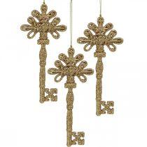 Dekorationsnyckel, juldekoration med glitter, julgransdekorationer Gyllene H15,5cm 12st