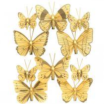 Vårfjäril med klämma guldfjäderdekoration 6cm 10st i en uppsättning