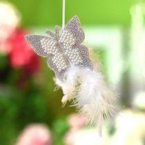 Filt fjäril för att hänga kräm bröllop dekoration 16cm