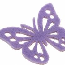 Filt fjärilsbord dekoration lila vit blandade 3,5x4,5 cm 54 stycken
