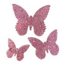 Scatter dekoration fjäril rosa-glitter 5/4 / 3 cm 24 st