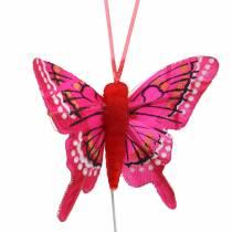 Dekorativ fjäril med tråd 5cm 24st sorterad