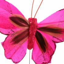 Fjärilsfjäril med tråd 7cm rosa lila 24st