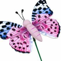 Dekorativ fjäril på pinne, blomplugg, vårdekoration, 16st