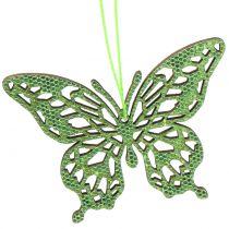 Dekorativ hängande fjärilsgrön glitter 8cm 12st