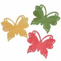 Scatter dekoration fjäril trä orange, gul, grön 4cm 72p