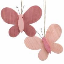 Fjäril för hängande trärosa 13cm x 22cm 2st