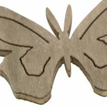 Fjäril trävit, kräm, brun blandad 4cm 72st bordsdekoration vår