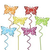 Blomma stift fjäril färgglada 22cm 12st