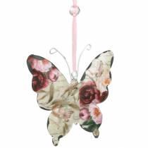 Fjäril att hänga metall dekorationshängare 9cm vårdekoration 6st