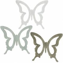 Fjäril att strö 4cm brun, ljusgrå, vit Sommardrinkande trädekoration 72st