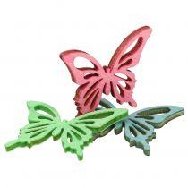 Fjärilar blandar trärosa, grön, blå 4cm 72p