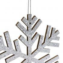 Snöflingasilver för hängande Ø8cm - Ø12cm 9st