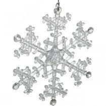 Dekorativ snöflinga, vinterdekoration, iskristall att hänga, jul H10cm B9.5cm plast 12st