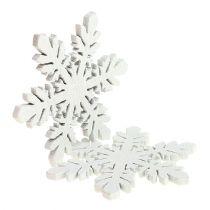 Snöflingor av trävit Ø3,7cm 48p