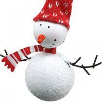 Julgransdekorationer snögubbe att hänga metall 8,5 / 13cm 4st