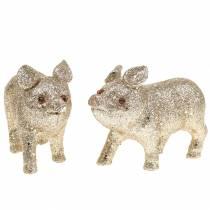 Dekorativ grisglitter champagne 10 cm 8st