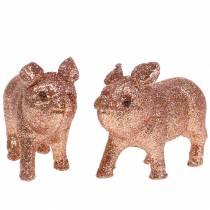 Dekorativ grisglitterrosa 10 cm 8st