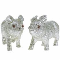 Dekorativ grisglitter silver 10 cm 8st