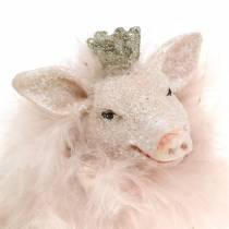 Dekorationsfigur gris lycklig charm 9cm 2st