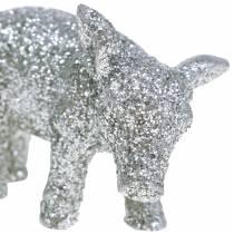 Dekorativ gris Nyårsdekoration silverglitter 3,5 cm 2st